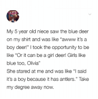 """Be Like, Deer, and Girls: My 5 year old niece saw the blue deer  on my shirt and was like """"awww it's a  boy deer!"""" I took the opportunity to be  like """"Or it can be a girl deer! Girls like  blue too, Olivia""""  She stared at me and was like """"l said  it's a boy because it has antlers."""" Take  my degree away now. Should have studied STEM instead of female dance theory."""