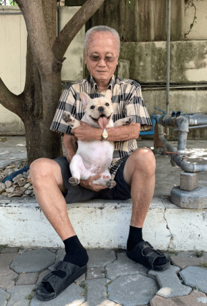 Rocky, Grandpa, and Old: my (82 year old) grandpa with my frenchie, rocky !!