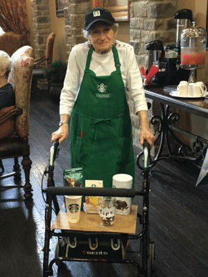 Halloween, Starbucks, and Dress: My 96 y/o grandmother wanted to dress up like a Starbucks barista this Halloween. I think she hit it out of the park.