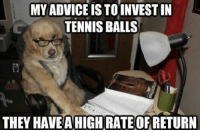 Invest !: MY ADVICE IS TOINVEST IN  TENNIS BALLS  THEY HAVEAHIGH RATE OF RETURN Invest !