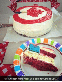 """canada day: """"My American friend made us a cake for Canada Day..."""