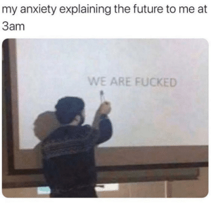 meirl: my anxiety explaining the future to me at  Заm  WE ARE FUCKED meirl