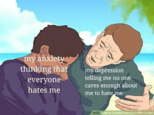 meirl: my anxiety  thinking that  my depression  telling me no one  cares enough about  me to hate me  everyone  hates me  wiki How to Comfort Somegna Who Is Sad meirl