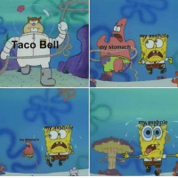 Taco Bell: my asshole  Taco Bell  my stomach  my asshole  my asshole  my stomach