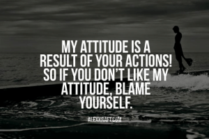 Blame Yourself: MY ATTITUDE IS A  RESULT OF YOUR ACTIONS!  SO IF YOU DON'T LIKE MY  ATTITUDE BLAME  YOURSELF  ALEXKRAFT.COM