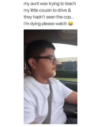 Memes, Drive, and Mean: my aunt was trying to teach  my little cousin to drive &  they hadn't seen the cop...  i'm dying please watch 😂😂😭What does derecho mean? • Follow @savagememesss for more posts daily