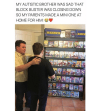 "<p>Block buster will live on via /r/wholesomememes <a href=""http://ift.tt/2pZgsFN"">http://ift.tt/2pZgsFN</a></p>: MY AUTISTIC BROTHER WAS SAD THAT  BLOCK BUSTER WAS CLOSING DOWN  SO MY PARENTS MADE A MINI ONE AT  HOME FORHIM  BLOCKBUSTER  BLOCKB <p>Block buster will live on via /r/wholesomememes <a href=""http://ift.tt/2pZgsFN"">http://ift.tt/2pZgsFN</a></p>"