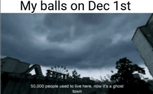 Ghost, Live, and Dank Memes: My balls on Dec 1st  50,000 people used to live here, now it's a ghost  town Bit more but you get the idea