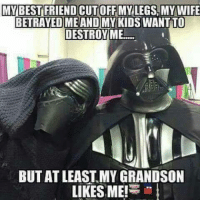 funny star wars memes: MY BEST FRIEND CUTOFF MY LEGS MY WIFE  BETRAYED ME AND MY KIDS  WANTTO  DESTROY ME  BUTAT LEAST MY GRANDSON  LIKES ME!