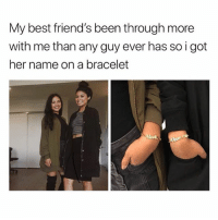 Friends, Best, and Link: My best friend's been through more  with me than any guy ever has so i got  her name on a bracelet Bracelets from @galaxyswap 😛 they gave me a code 'gossipgirl' to save a lot, you're welcome 😘 link in bio