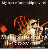 Advice, Af, and Fam: My best relationship advice?  Make sure  the crazy one  @The Yellow HairedGirl @theyellowhairedgirl IG account makes my soul happy, brings me laughter, makes me blush and behind this account is a yellow haired vixen that I've never met. But I feel as though I know her in the real world with all of the badassery that she creates on her IG page!!! If you're not following the @theyellowhairedgirl you need to fix that right now!!! Her work is so innovative and highly entertaining!!! I'm seriously fangirling that she used my image from my yellow haired days on one of her original memes!!! My IG Model Fam - if you're lucky she might use your image as well if it inspires her so slip into theyellowhairedgirl DM's!!! Thank you for making me apart of your meme magic girl!!! 🙏🏼 I took this shot in downtown la with @kaden back in 2007 and I was all about gunsandroses and rockandroll crazy relationships memes magic mood af zerofucksgiven art artistshelpotherartists wednesday believe hope faith bekind spreadlove bebadass ARE YOU THE CRAZY ONE??? 😉