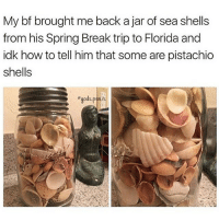 Memes, 🤖, and Pistachio: My bf brought me back a jar of sea shells  from his Spring Break trip to Florida and  idk how to tell him that some are pistachio  shells  egods penis i really don't wanna study rip :~)) @nuggeret
