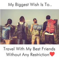 Traveller, Travelers, and Traveler: My Biggest Wish ls To..  Travel With My Best Friends  Without Any Restriction