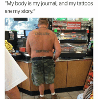 """Funny, Tattoos, and Breakfast: """"My body is my journal, and my tattoos  are my story.""""  Breakfast Items  Available All Day  EOLD FLAVOR  -고사을  443 DM ME HUNK."""