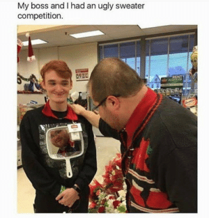 melonmemes:The savage award 2017 goes to….: My boss and I had an ugly sweater  competition  RENT melonmemes:The savage award 2017 goes to….