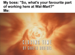 "Dank, Memes, and Target: My boss: ""So, what's your favourite part  of working here at Wal-Mart?""  Me:  IONt 1IIE  BY GARETH HOBEHTS me_irl by The-Gallifrey-Senate MORE MEMES"