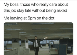 Dank, Memes, and Target: My boss: those who really care about  this job stay late without being asked  Me leaving at 5pm on the dot: meirl by PhantomFuck MORE MEMES
