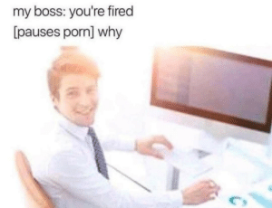 Porn, Boss, and Why: my boss: you're fired  [pauses porn] why