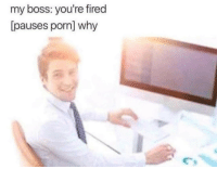 Porn, How, and Boss: my boss: you're fired  [pauses porn] why  Cs How dare they