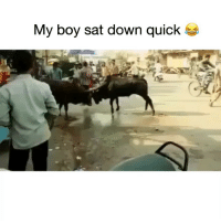 Booty, Funny, and Lmao: My boy sat down quick That gotta hurt his booty lmao😂💀