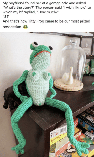 "Fam, Boyfriend, and How: My boyfriend found her at a garage sale and asked  ""What's the story?"" The person said ""I wish I knew"" to  which my bf replied, ""How much?""  ""$1""  And that's how Titty Frog came to be our most prized  possession  GFTER ALL  LA  ARAT  SAMES  MUNCHKIN  fam Titty Frog challenges you"