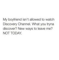 I love these posts 😂😂😂 okdayum: My boyfriend isn't allowed to watch  Discovery Channel. What you tryna  discover? New ways to leave me?  NOT TODAY. I love these posts 😂😂😂 okdayum