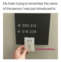 @memesvilleusa is a must follow: My brain trying to remember the name  of the person I was just introduced to  → 300-316  ← 318-328  317  E트 @memesvilleusa @memesvilleusa is a must follow