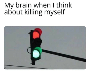 Brain, Think, and Myself: My brain when I think  about killing myself
