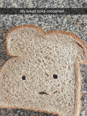 """tastefullyoffensive:  """"Ar…are you gonna eat me?"""" (via atomicpete): My bread looks concerned... tastefullyoffensive:  """"Ar…are you gonna eat me?"""" (via atomicpete)"""
