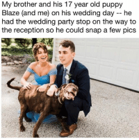 (@hilarious.ted) posts truly adorable animal memes. (Pic: Reddit u-somethingregal): My brother and his 17 year old puppy  Blaze (and me) on his wedding day -- he  had the wedding party stop on the way to  the reception so he could snap a few pics (@hilarious.ted) posts truly adorable animal memes. (Pic: Reddit u-somethingregal)