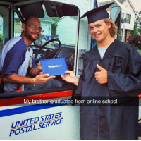 School, Brother, and Postal: My brother graduated from online school  UNITEDSTATES  POSTAL SERVICE