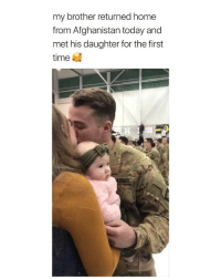 Precious, Afghanistan, and Home: my brother returned home  from Afghanistan today and  met his daughter for the first  time my heartttt so precious