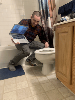 My brother was very excited to show our parents his new bidet to counteract the lack of TP: My brother was very excited to show our parents his new bidet to counteract the lack of TP