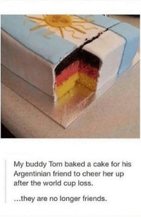 Baked, Friends, and Memes: My buddy Tom baked a cake for his  Argentinian friend to cheer her up  after the world cup loss.  ...they are no longer friends. Stop it Satan