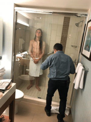 My buddy traveled across the country to visit me last weekend. Unfortunately, he got stuck in his hotel shower for 3 hours. Shout-out to Julio for helping out a man in need.: My buddy traveled across the country to visit me last weekend. Unfortunately, he got stuck in his hotel shower for 3 hours. Shout-out to Julio for helping out a man in need.