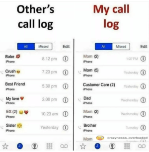 Other's vs My call log: My call  log  Other's  call log  Edit  Edit  Missed  All  All  Missed  Mom (2)  Babe  8.12 pm 0  1:37 PM ()  IPhone  iPhone  Mom (5)  Crush  7.23 pm  Yesterday O  iPhone  iPhone  Best Friend  Customer Care (2)  5.30 pm 0  Yesterday i  iPhone  IPhone  2.00 pm 0  Dad  My love  Wednesday 1  iPhone  iPhone  EX (2)  Mom (2)  10.23 am 0  Wednesday i  iPhone  iPhone  Sister  Brother  Yesterday O  Tuesday O  iPhone  IPhone  crazynesss_overloaded  Mom  000  D00  a00  D00 Other's vs My call log