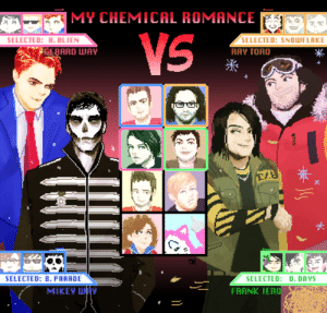 lemonkoi:  Choose your character.: MY CHEMICAL ROMANCE  TED: H. RLIEN  SELECTED: SNOLWFLAKE  RAY TORO  GERARD WAY  米  SELECTED: B. PARADE  SELECTED: D. DAYS  FRANK IERO  MIKEY H lemonkoi:  Choose your character.