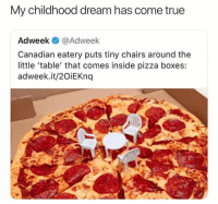 Memes, Pizza, and True: My childhood dream has come true  Adweek @Adweek  Canadian eatery puts tiny chairs around the  little 'table' that comes inside pizza boxes:  adweek.it/2OiEKndq Genius!