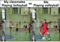 Volleyball: My classmates  Me  VS  Playing Volleyball  Playing volleyball