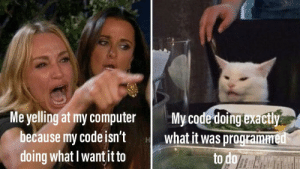Computer, Code, and What: My code doing exactly  what it was programmed  to do  Me yelling at my computer  because my code isn't  doing what I want it to Beginner or not, this happens a lot