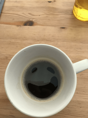 My coffee cup smiled to cheer me up in the morning: My coffee cup smiled to cheer me up in the morning