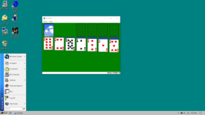 Windows 10.98: My Computer  Internet  Explorer  Solitaire  Game Help  My  Solitaire  Documents  Network  Unreal  Tournament  Recycle Bin  Windows Update  9 Programs  Documents  Score: 0 Time: 0  My Computer  Settings  Help and Support  Run..  Log Off  Shut Down...  Search  Start  G 9:32 PM  Solitaire  - Windows 98 Windows 10.98