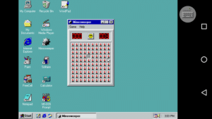 Beat minesweeper, on a Windows 98 emulator, on my phone.: My Computer  Recycle Bin  WordPad  Minesweeper  21  Game Help  My  Documents  Windows  Media Player  Internet  Minesweeper  Explorer  Solitaire  Paint  FreeCell  Calculator  MS  MS-DOS  Notepad  Prompt  303 PM  | Start  Minesweeper Beat minesweeper, on a Windows 98 emulator, on my phone.