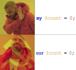 Perl, Count, and Our: my $count 0;  our $count-0 Declaring variables in Perl