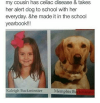 Doge, Memes, and Unicorn: my cousin has celiac disease & takes  her alert dog to school with her  everyday. &he made it in the school  yearbook!!!  Kaleigh Buckminster  Memphis Bu ~Death —————————————–——— ❤️Follow for more!❤️ ——————————–—————— Admins: 🐱Jess: @they.all.die 💀Death: @killerbookskillerfeels 🍆Eggplant: @edwinwilke.photography 🦄Unicorn: @interweb.posts 🐶Doge: @lotusiaaa ——————————–——