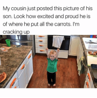 😂😂😂 | More 👉 @miinute: My cousin just posted this picture of his  son. Look how excited and proud he is  of where he put all the carrots. I'm  cracking up 😂😂😂 | More 👉 @miinute