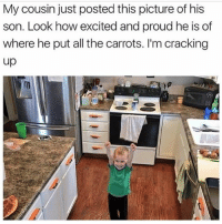 😂😂😂 (@romperdotcom): My cousin just posted this picture of his  son. Look how excited and proud he is of  where he put all the carrots. I'm cracking  up 😂😂😂 (@romperdotcom)