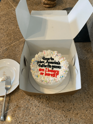 My cousin wanted cake and ordered one. Told the bakers to write whatever they wanted because it was for just for her anyways, so…: My cousin wanted cake and ordered one. Told the bakers to write whatever they wanted because it was for just for her anyways, so…