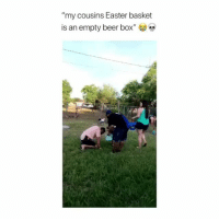 """Beer, Booty, and Easter: """"my cousins Easter basket  is an empty beer box"""" The term Easter gets its name from Eastre, the Anglo-Saxon goddess who symbolizes the hare and the egg 🥚🐰 . Via @oj_sanchezz Follow @heated I'll send you booty pics 😉 yyc happyeaster booty🍑 alabama"""