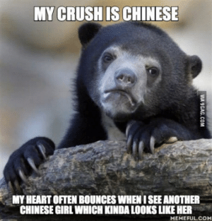 Crush, Chinese, and Girl: MY CRUSH IS CHINESE  MY HEART OFTEN BOUNCES WHEN I SEE ANOTHER  CHINESE GIRL WHICH KINDA LOOKS LIKE HER  MEMEFUL.CO Shes really pretty, but its hard to tell the difference sometimes